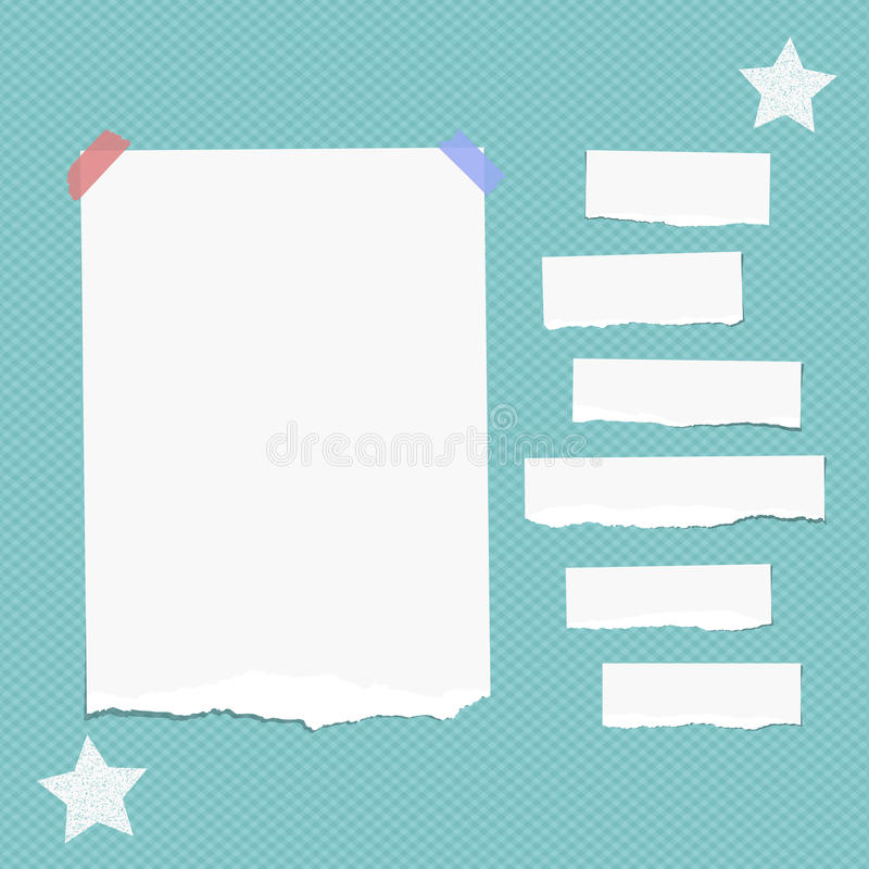 Ripped white note, notebook, copybook paper strips stuck with sticky tape, stars on squared blue background. Ripped white note, notebook, copybook paper strips stock illustration