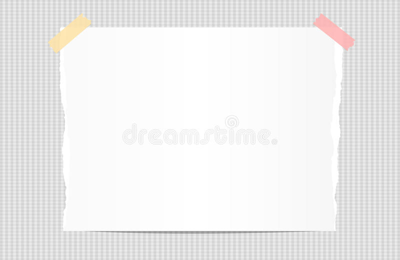 Ripped white note, notebook, copybook paper stuck with sticky tape on squared background. Ripped white note, notebook, copybook paper stuck with sticky tape on vector illustration
