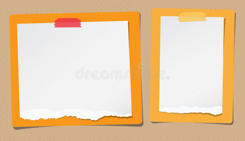 Ripped white note, notebook paper are stuck on yellow, orange rectangles royalty free illustration