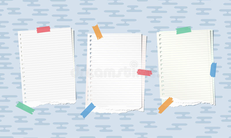 Ripped white notebook, copybook paper sheets stuck with colorful sticky tape on blue rounded lines pattern.  royalty free illustration