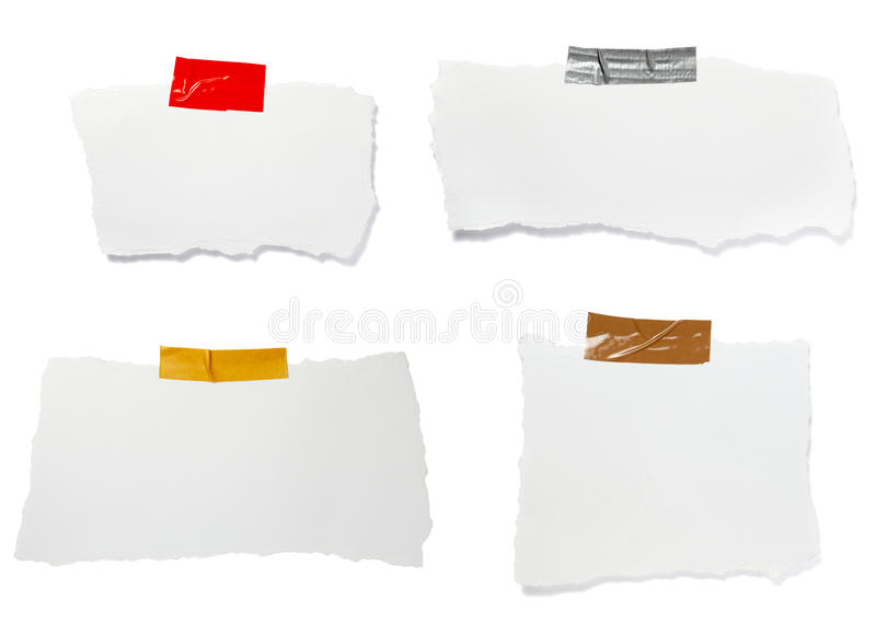 Ripped white paper note message background stock images