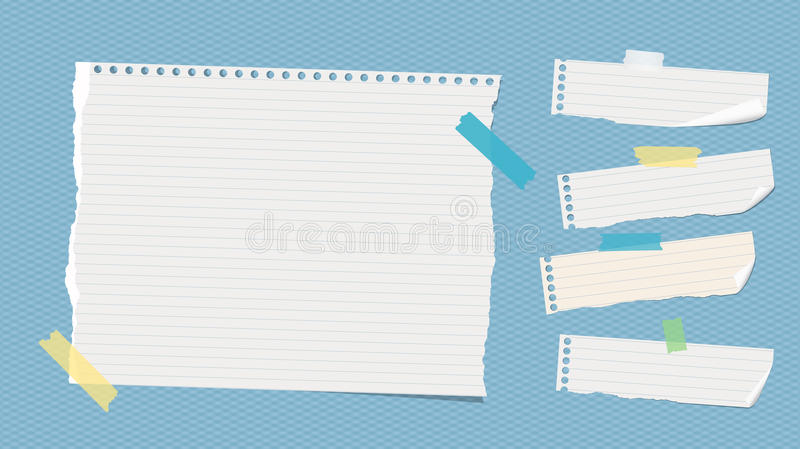 Ripped white ruled note, notebook, copybook paper sheets stuck with colorful sticky tape on blue squared pattern.  vector illustration