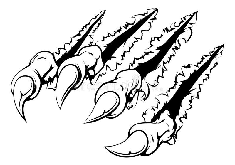 Ripping claw. Black and white illustration of monster claws breaking through ripping tearing and scratching the wall or metal or paper background