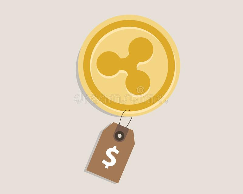 Ripple coin price value of crypto-urrency in dollar price tag digital money block chain investment concept. Vector vector illustration