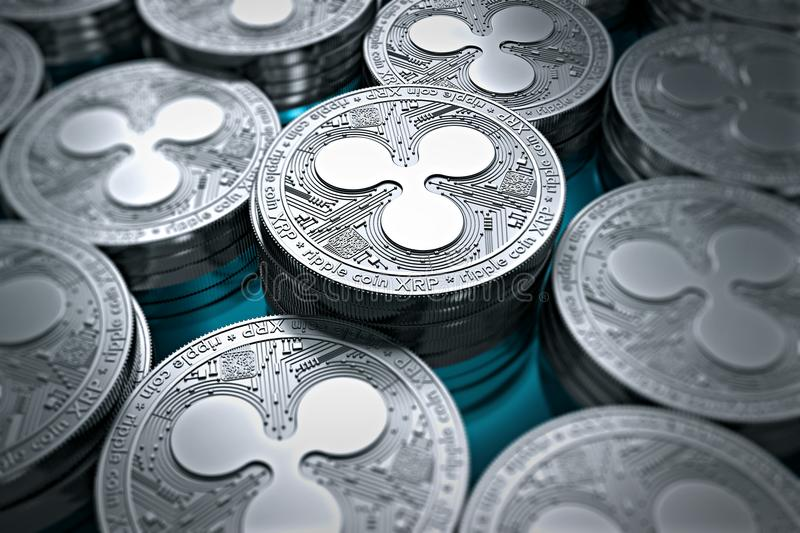 Ripple coins XRP in blurry closeup. New cryptocurrency concept vector illustration