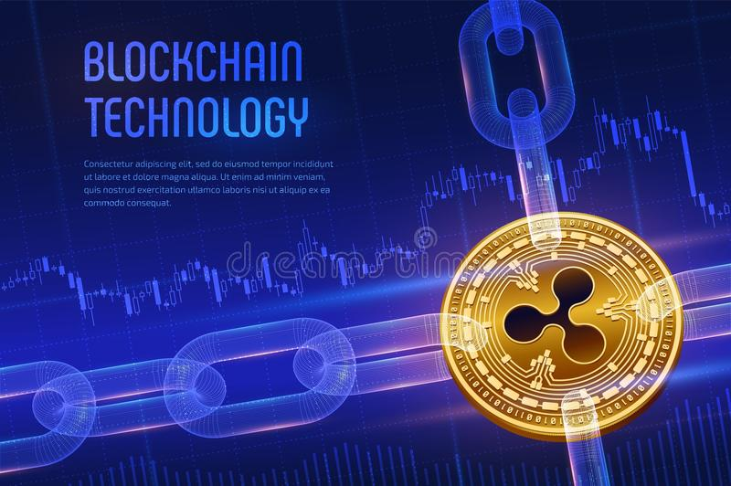 Ripple. Crypto currency. Block chain. 3D isometric Physical golden bitcoin with wireframe chain on blue financial background. Bloc. Kchain concept. Editable royalty free stock photos