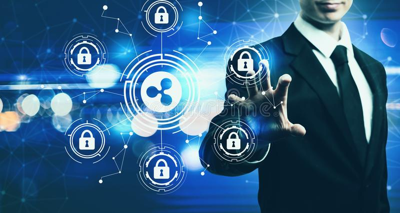Ripple cryptocurrency security theme with businessman on blue li. Ripple cryptocurrency security theme with businessman on blurred blue light background stock image
