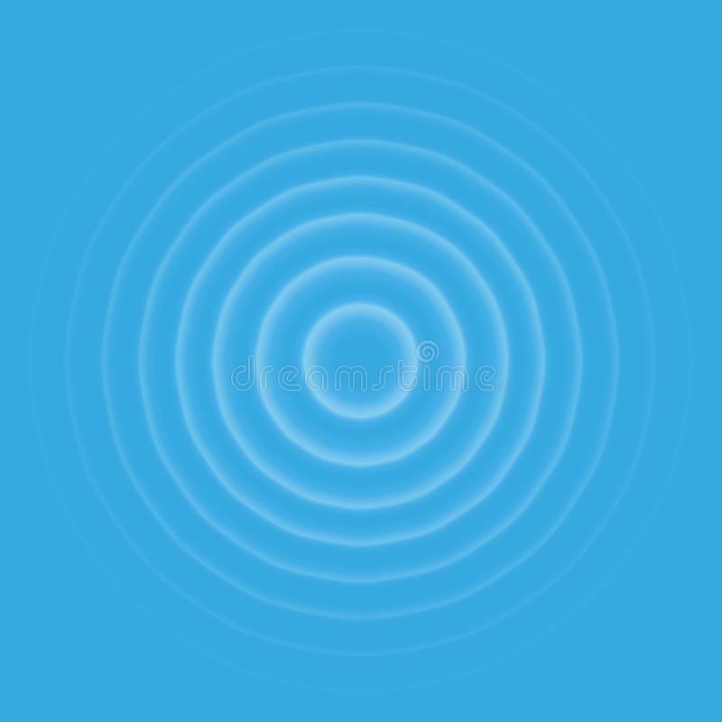 Ripple effect top view. Transparent Water drop rings. Circle sound wave isolated on blue background. stock illustration