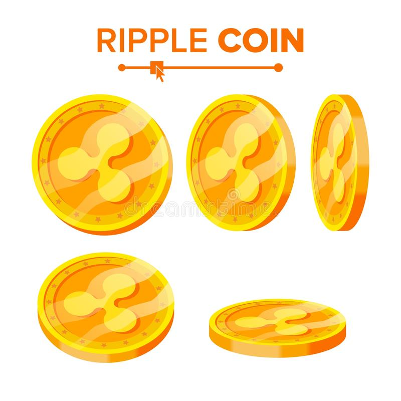 Ripple Gold Coins Vector Set. Flip Different Angles. Ripple Virtual Money. Digital Currency. Isolated Flat illustration. Ripple Gold Coins Vector Set. Flip royalty free illustration
