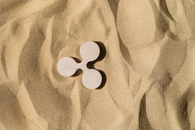 Ripple Sign On the Sand stock images