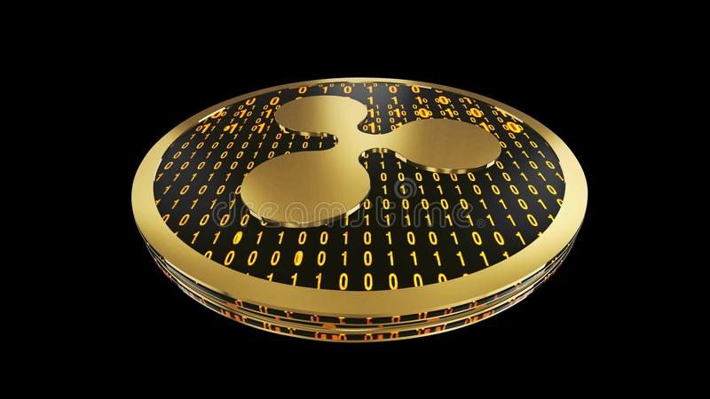Ripple symbol, close up view of gold cryptocurrency coin with binary code on black background, bottom view, 3D rendering vector illustration