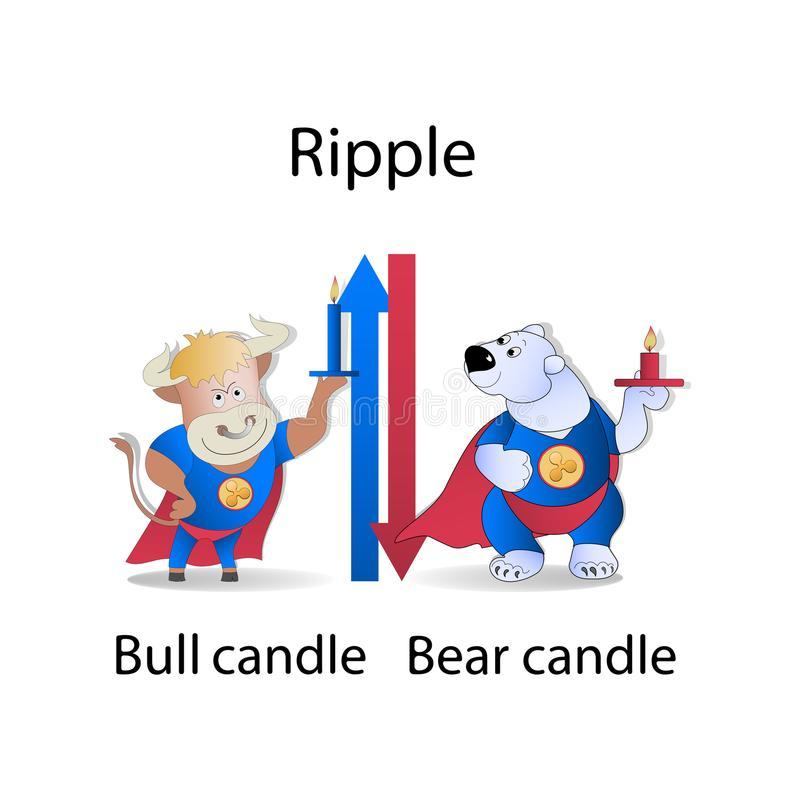 ripple Vela com tendência para a alta e bearish ilustração do vetor
