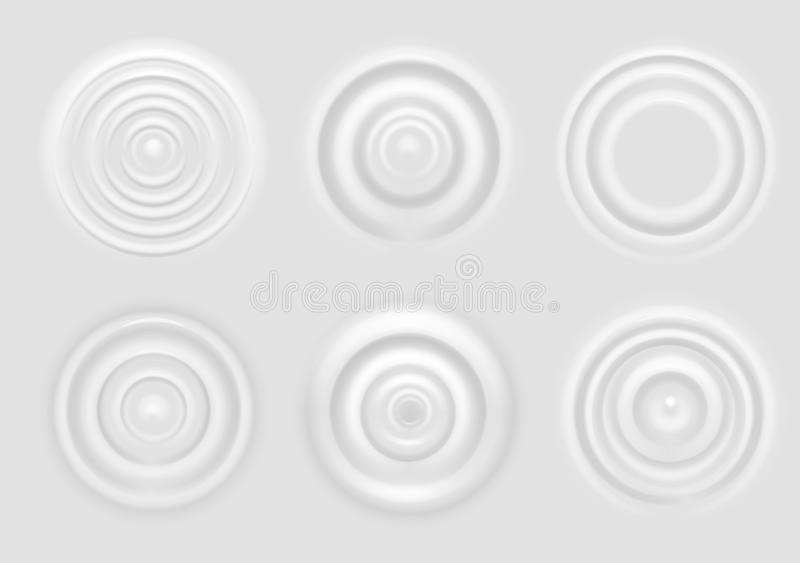Ripple on white surface. Dairy product circular waves top view, milk splash from falling drop, round radial ripples on. Surface vector concentric rings texture vector illustration
