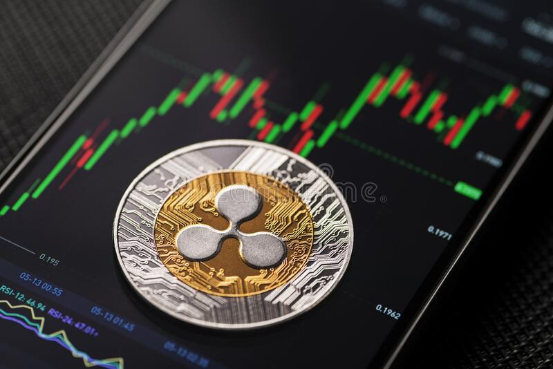 Ripple xrp cryptocurrency trading stock photo
