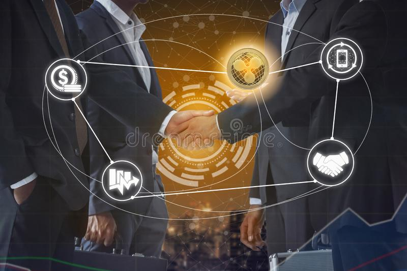 Ripple XRP and Cryptocurrency Payment Accept. Ance concept - Businessman handshaking showing accepted payment by using Ripple coin. Blockchain and financial stock photos