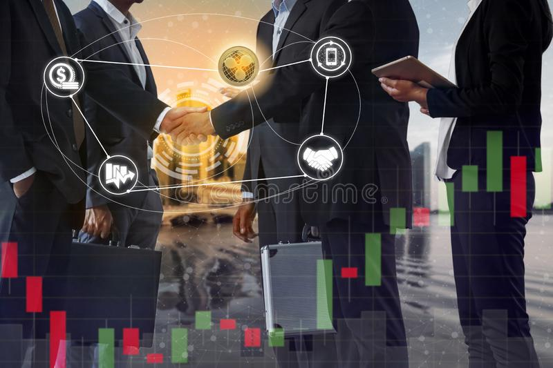 Ripple XRP and Cryptocurrency Payment Accept. Ance concept - Businessman handshaking showing accepted payment by using Ripple coin. Blockchain and financial stock images