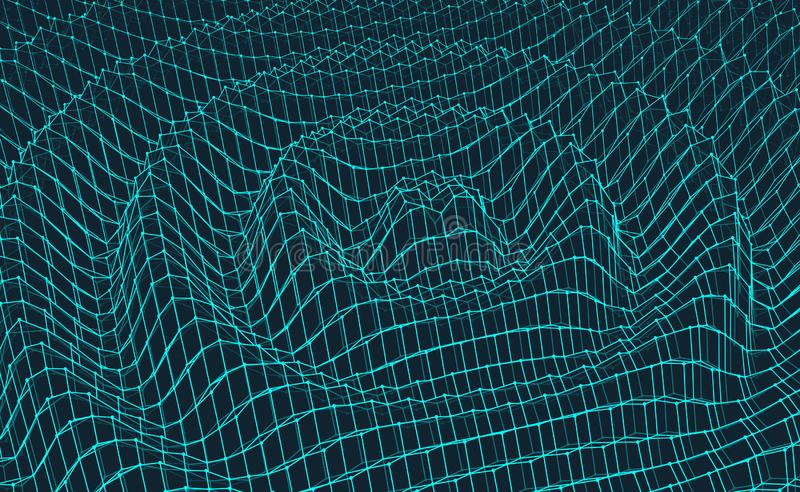 Rippled background template. Abstract science or technology illustration. 3D grid surface. Can be used for wallpaper, presentation. Banner and cover stock illustration