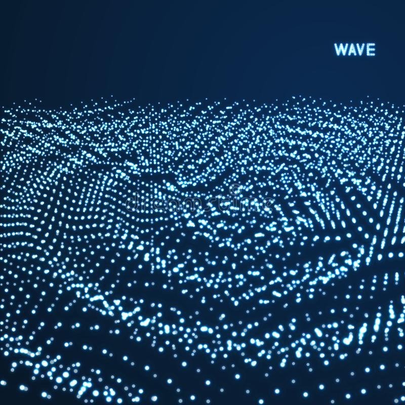 Rippled background template. Abstract science or technology illustration with particle. 3D grid surface. Can be used for wallpaper. Presentation, banner and royalty free illustration