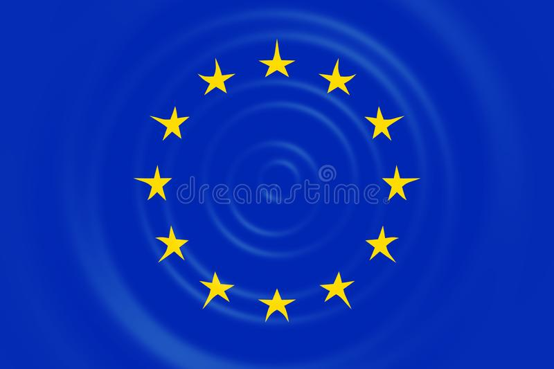 Rippled European Council EUCO flag in official blue yellow colors and proportion. 3D rendering royalty free stock photography