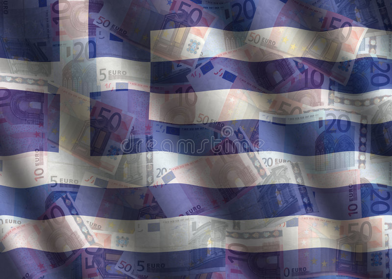 Rippled Euros and Greek flag. Background illustration royalty free illustration