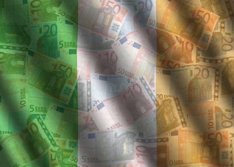 Rippled Euros and Irish flag. Background illustration stock illustration