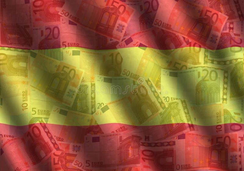 Rippled Euros and Spanish flag. Background illustration royalty free illustration