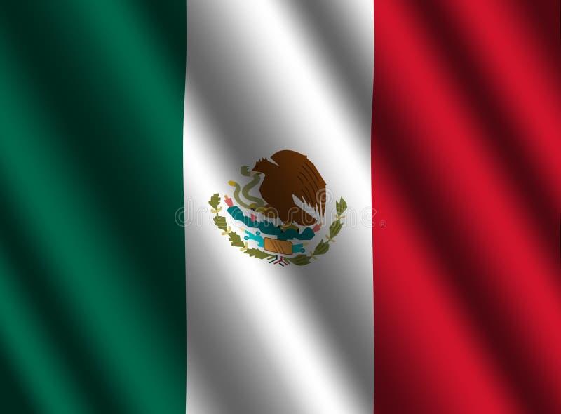Rippled Mexican flag background. Illustration royalty free illustration