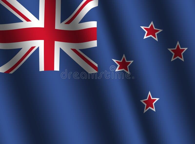 Rippled New Zealand flag. Background illustration vector illustration