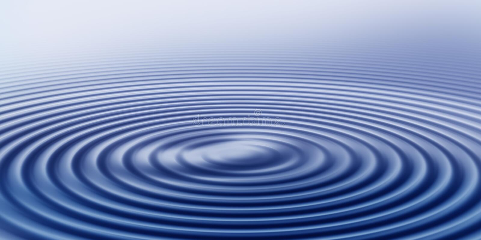 Rippled rings of water. Three dimensional background of rippled rings of blue water royalty free illustration