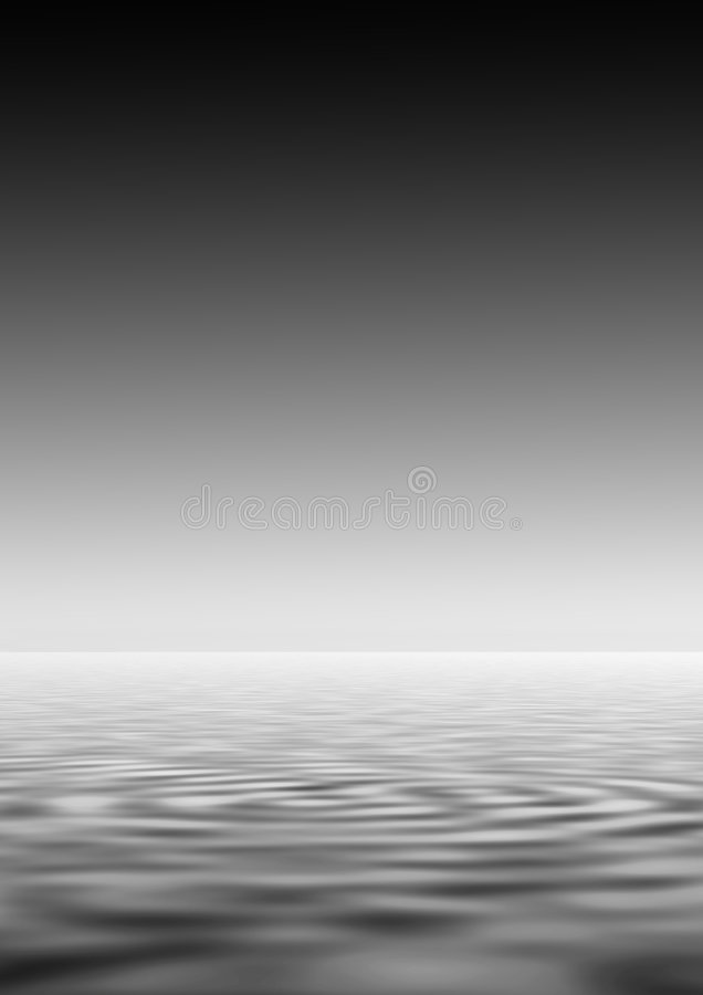 Rippled Water. Abstract in monochrome of sky and rippled water in shades of grey stock illustration