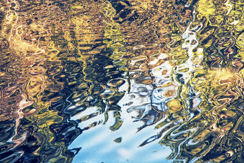 Rippled water surface with natural reflections, artistic photo f. Rippled water surface with natural reflections. Trees reflecting in water. Water level. Pond royalty free stock photography