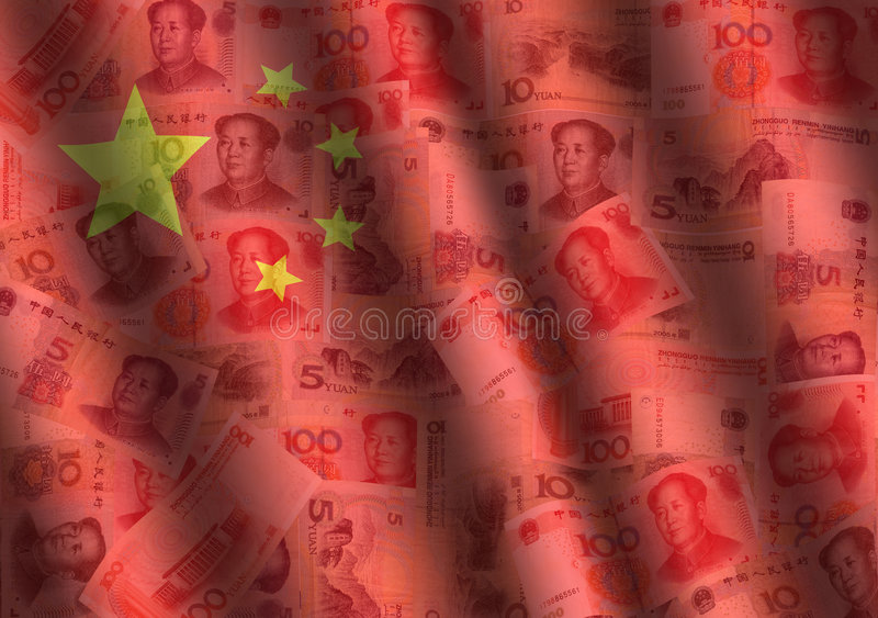Rippled Yuan and Chinese flag royalty free illustration