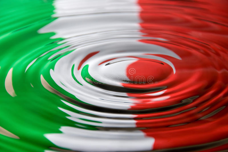 Ripples against an Italian flag royalty free stock images