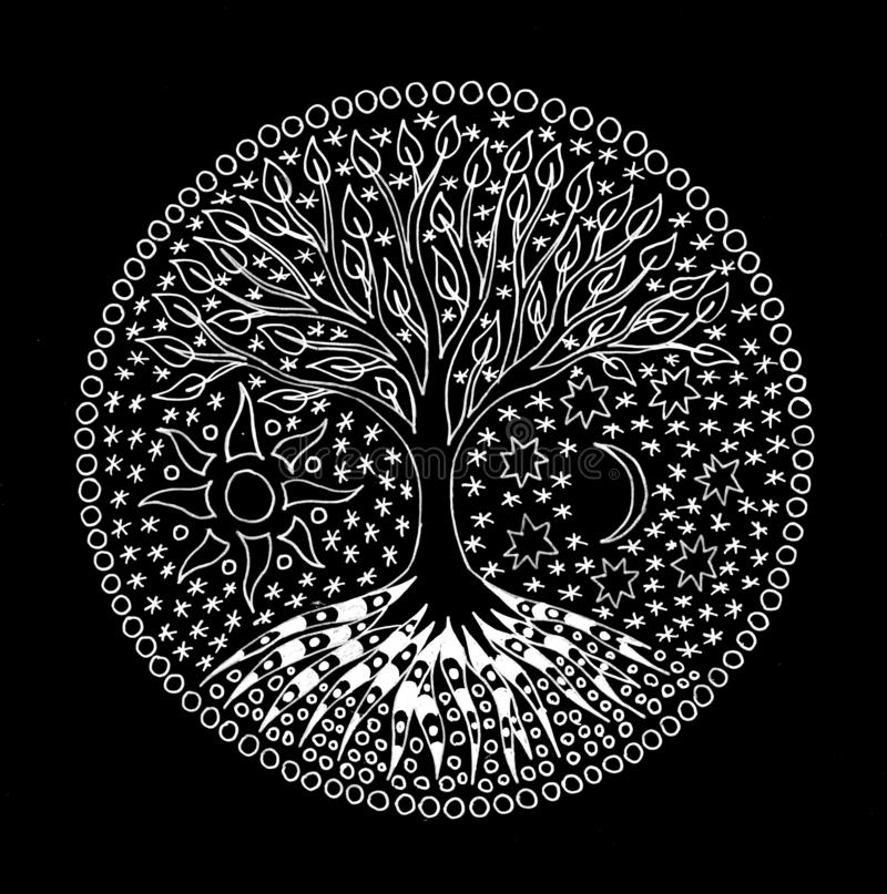 The tree of life. Mandala. Symbolic pattern in white. Manual graphics on a black background. Spiritual symbol. stock photo