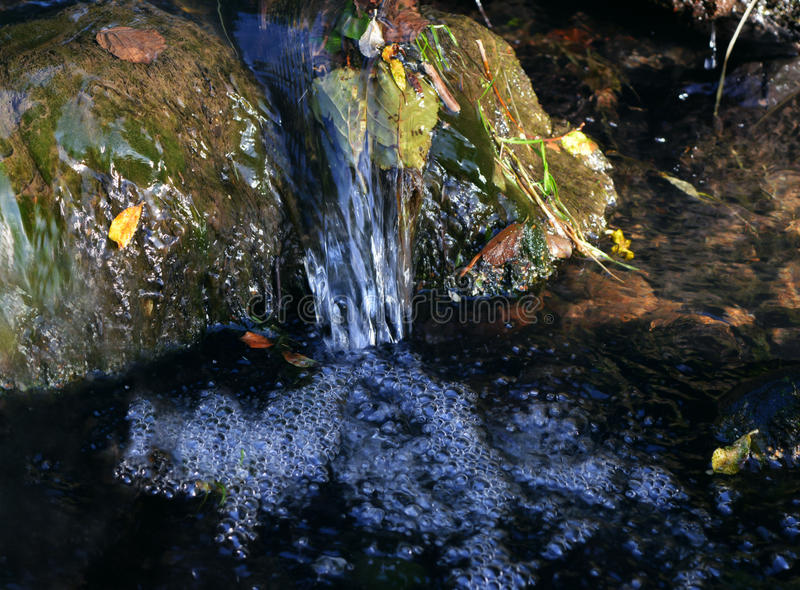 Rippling spring creek. Spring creek with rippling water, in rich colors stock image