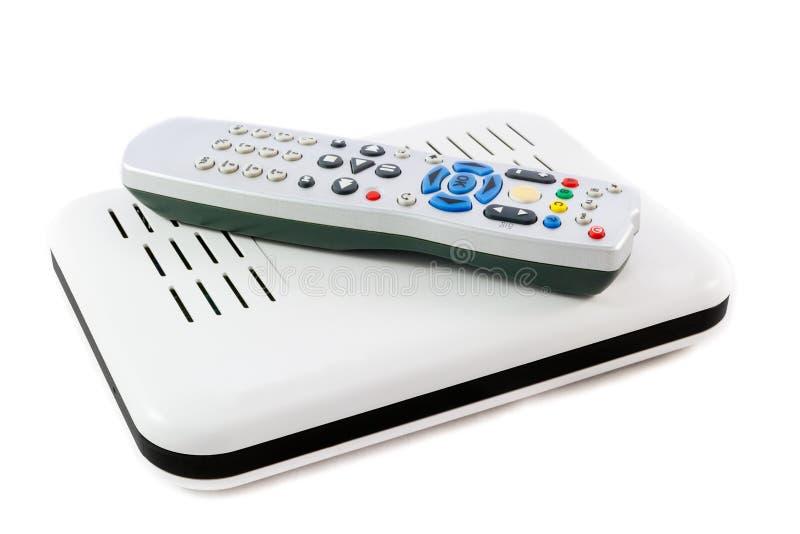 Ripresa esterna e ricevitore per Internet TV sulla vista laterale bianca fotografia stock libera da diritti