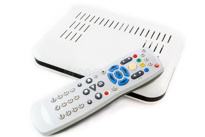 Ripresa esterna e ricevitore per Internet TV sulla vista superiore bianca fotografia stock