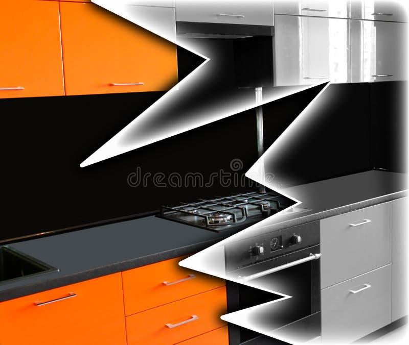 Ripristino di mobilia Cucina arancio luminosa sotto un in bianco e nero fotografia stock libera da diritti