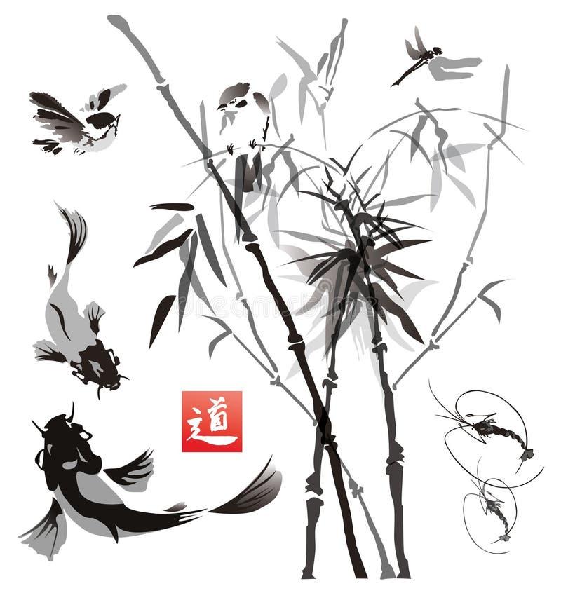 Riproduce a ciclostile gli uccelli, il pesce e le piante nello stile orientale fotografie stock libere da diritti