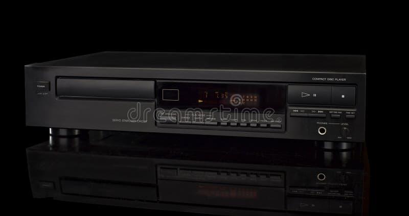 Riproduttore di CD su fondo nero fotografie stock