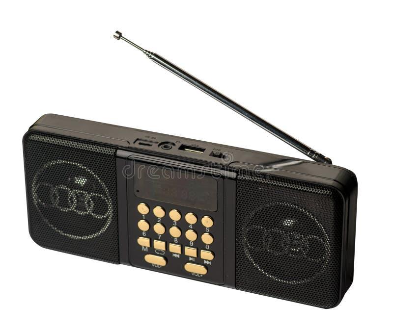 Riproduttore mp3 della radio di FM della tasca isolato su un fondo bianco fotografia stock libera da diritti