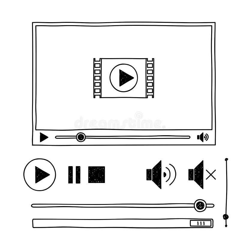 Riproduttore video di scarabocchio di schizzo di tiraggio della mano per il web illustrazione di stock