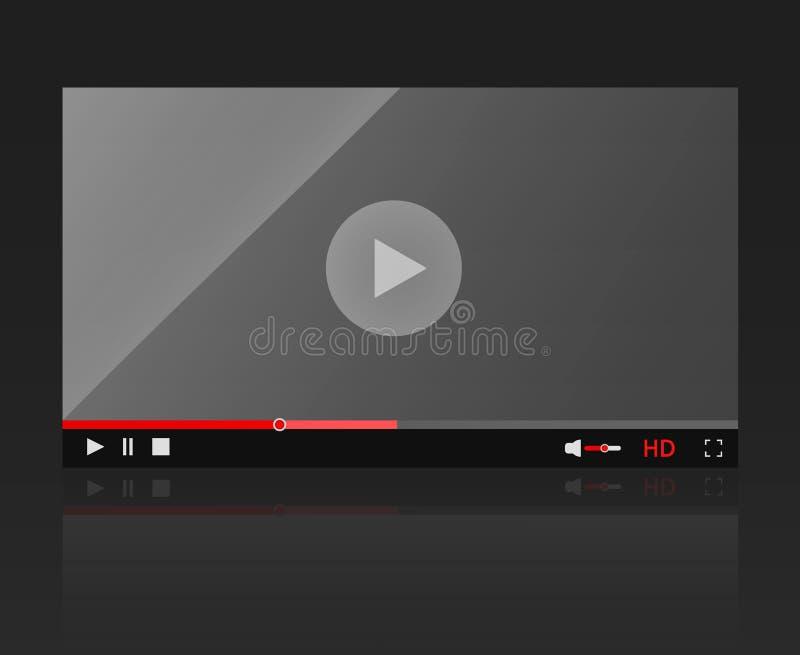Riproduttore video moderno della struttura lucida del riproduttore video per il sito Web illustrazione vettoriale