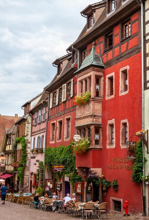 Riquewihr in Alsace, France. Enchanting medieval village. View of the old village within the walls. stock photography
