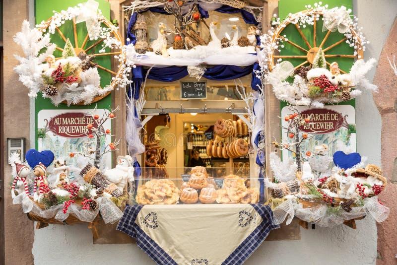 Riquewihr, France 29 DÉCEMBRE 2018 : décorations sur le marché de Noël en Alsace, France image stock