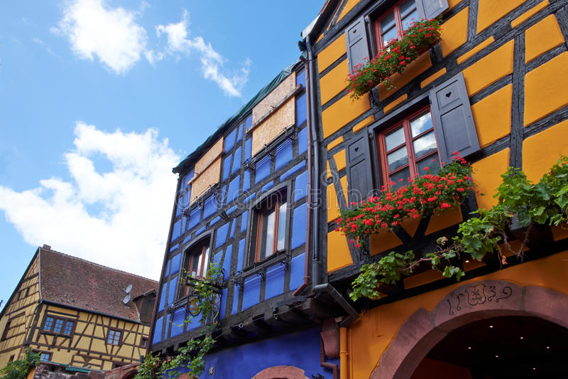 Riquewihr France, Window with flowers stock photography