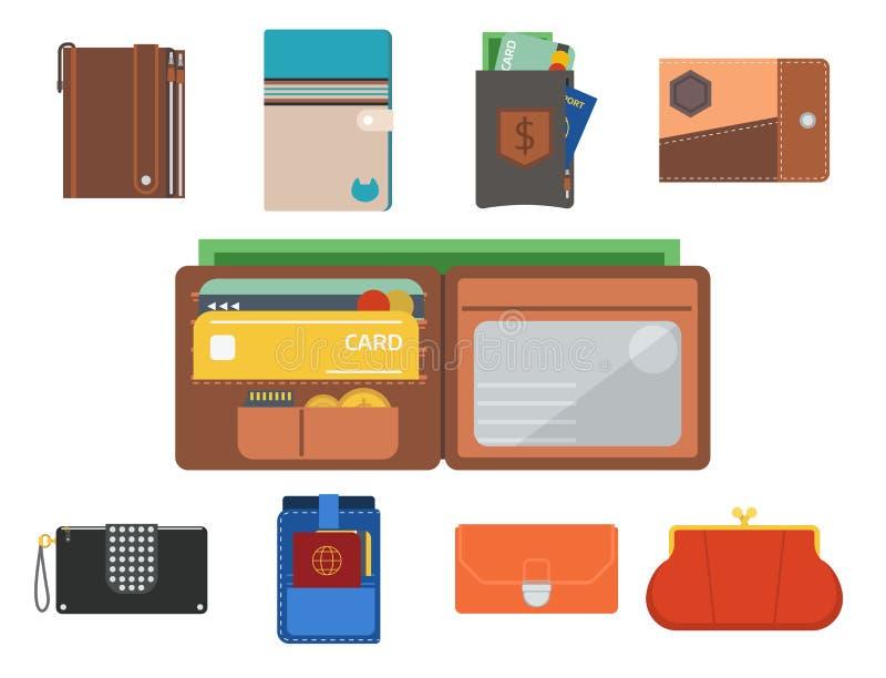 Riqueza de moda accesoria financiera del efectivo del bolso y de la cartera del pago de las carteras del negocio de la compra de  ilustración del vector