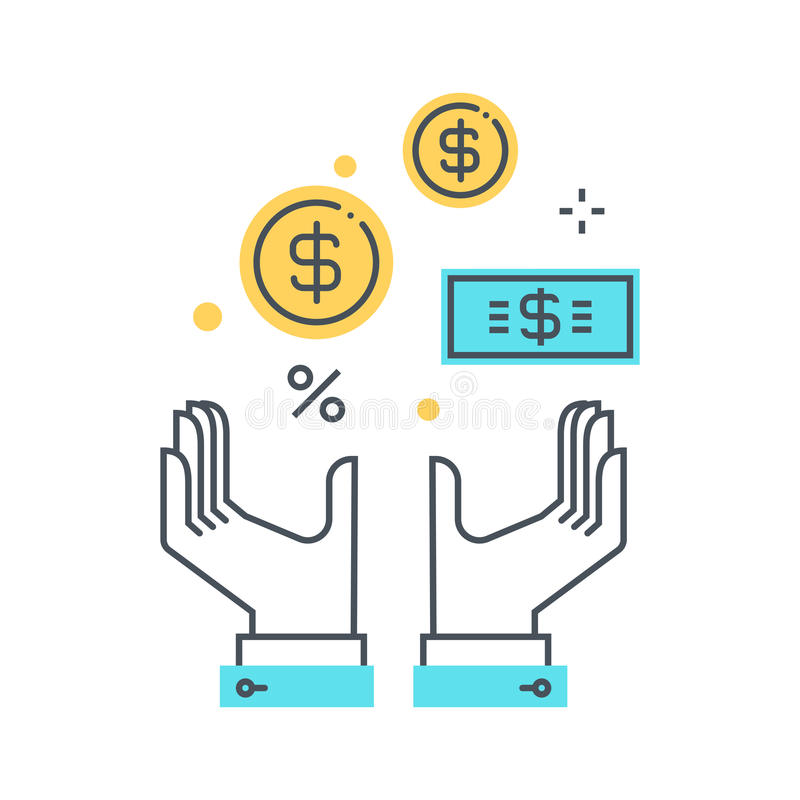 Riqueza, ilustração do conceito do salário imagens de stock
