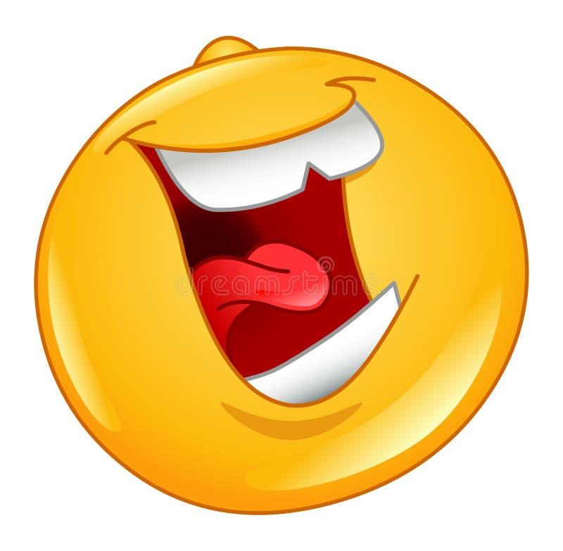 Rire à l'extérieur l'émoticône forte illustration libre de droits