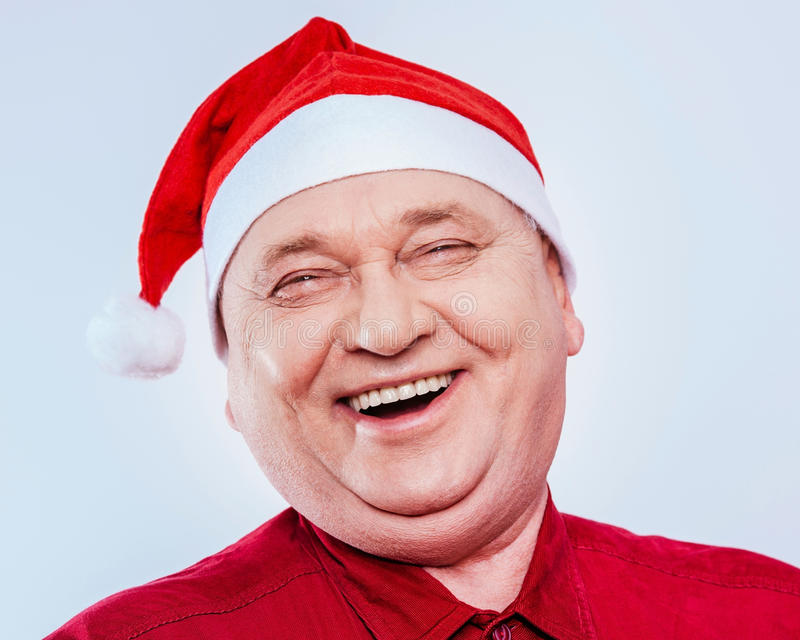 Rire d'homme supérieur de Noël photos libres de droits